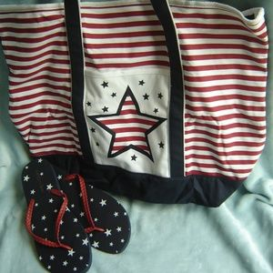 Handbags - Patriotic Tote with Flip Flops to Match